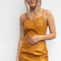 Party Lights Mustard Leather Dress