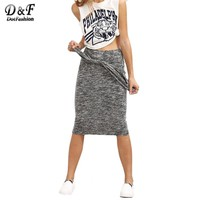 Grey Knotted  Midi Skirt