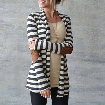 Women Knitted Striped Coat Cardigan Jacket Plus Size S-5XL