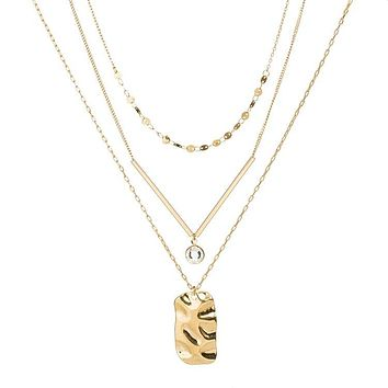 Three Layer Necklace with Gold Bar and Pendant
