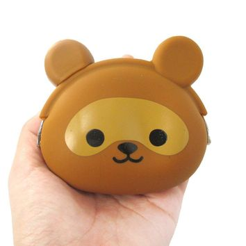 Raccoon Dog Tanuki Shaped Mimi Pochi Animal Friends Silicone Clasp Coin Purse Pouch