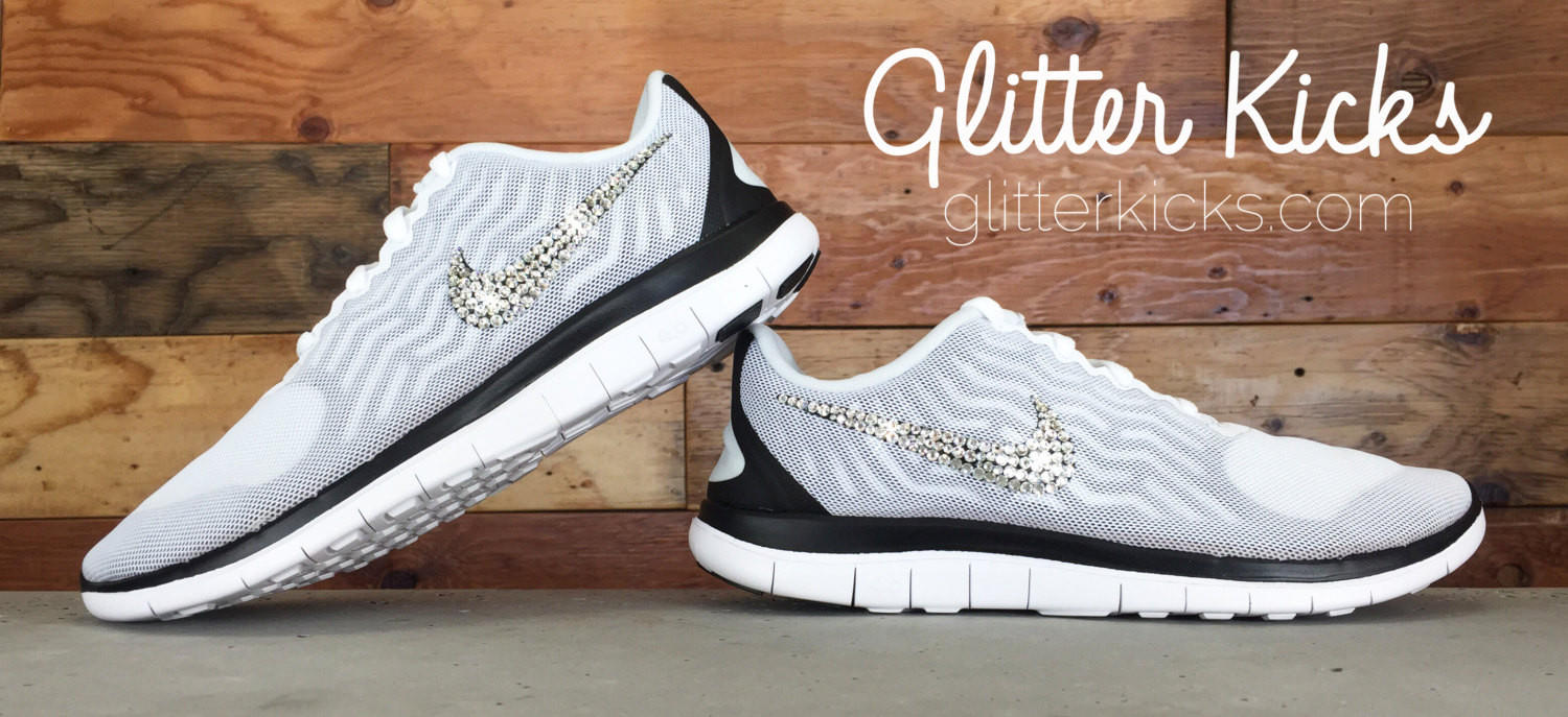 Women s Nike Free 4.0 V5 By Glitter Kicks - Hand Customized With Swarovski  Crystal Rhi aa06e174b