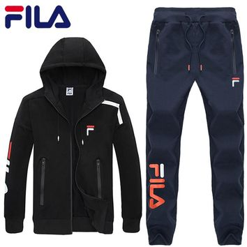 FILA autumn new round neck sweater trousers sports suit two-piece black