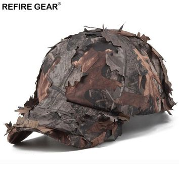 ReFire Gear Men's Camouflage Cap Jungle Leaves Conceal Camo Outdoor Cap Quick Dry Hiking Snapback Hat Fishing Hunting Caps