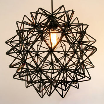 The Seagram Pendant - Black Himmeli Inspired Geometric Spherical Hanging Lamp