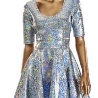 Silver Shattered Glass Holographic Half Sleeve Skater Dress