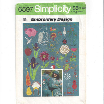 Simplicity 6597 Pattern for Embroidery & Seed Beads, Owl, Borders, Rooster, Pig, Cactus, From 1974, Vintage Pattern, Home Sewing Pattern