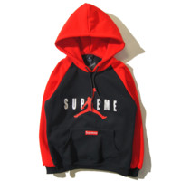 Supreme & Jordan Autumn and winter new fashion print hooded top Loose sweater