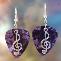 Music Note, Treble Clef Guitar Pick Earrings - Color of Your Choice