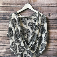 Palm Print Cross Over Top (Black)