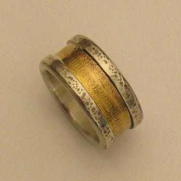 Rustic Mens wedding band Rustic 14k Gold and Silver Ring Mens wedding Ring Unique Mens Ring Rustic Ring - READY TO SHIP