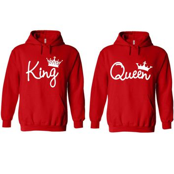 King and Queen Write Red Hoodie