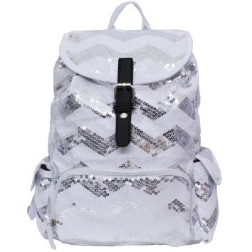Spirit Sequin Chevron Bling Large Backpack silver