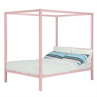 Twin size Metal Platform Canopy Bed Frame in Pink - Great for Kids Girls and Teens