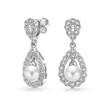 Bridal Filigree White Dangle Earrings Prom Pageant Silver Plated