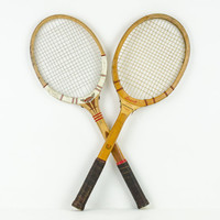 Vintage Dunlop and Bancroft Tennis Rackets with Covers