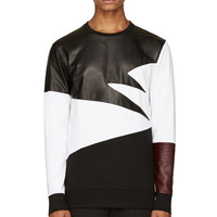 Pyer Moss Black And White Leather Combination Duran Sweater