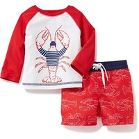 Lobster-Graphic Rashguard & Swim Trunk Set for Baby | Old Navy