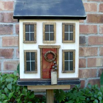 Country Folk Art Primitive Cottage Saltbox Farmhouse Birdhouse