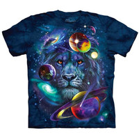 The Mountain LION OF COSMOS T-Shirt Space Planets Stars Galaxy Graphic Tee S-5XL