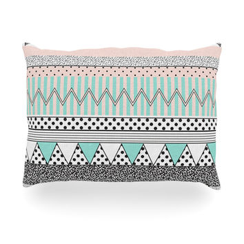 "Vasare Nar ""Chevron Motif"" Pink Teal Oblong Pillow"