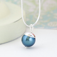 On Vacation - Necklace, Peacock Blue Necklace, Teal Sterling Silver Necklace, Stunning Simplicity, Dreamy