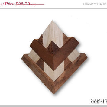 On Sale 14 pieces pyramid, Luxor pyramid, wooden game, puzzle game, puzzle in cotton bag with string