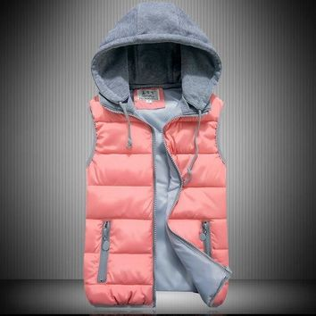 Women Hooded Down Vest Thick Winter Outerwear