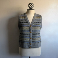 Vintage 1980s Nordic Knit Vest ESCADA Sport 80s Gray Blue Striped Wool Knitted Sweater Large