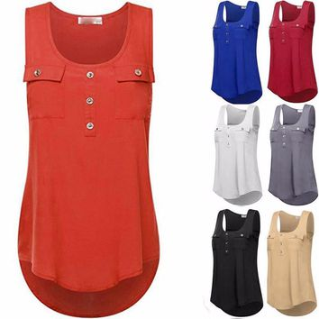 Plus-Size T-Shirt O-neck Sleeveless Vest Loose Tank Tops