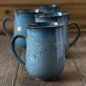 Blue Ceramic Coffee Mug / Pottery Stoneware Mugs / Hand Thrown Mug / 10oz Mug / Coffee Lovers Gift / Holiday Gift / Tea Mug
