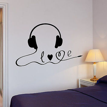 Wall Decal Music Headphones Stereo Player Sound Headset Vinyl Stickers (ed161)
