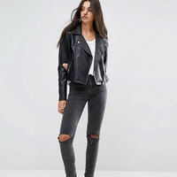 ASOS DESIGN Tall ultimate leather look biker jacket at asos.com