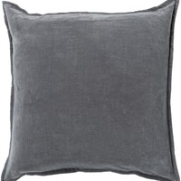 Cotton Velvet Throw Pillow Gray