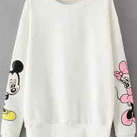 White Mickey Print Long Sleeve Sweatshirt