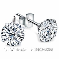 Genuine 925 Pure Sterling Silver Imitated Diamond Wedding Engagement Cubic Zirconia Stud Earrings For Women Men Fashion Jewelry