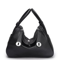 House Of Hello Women's Genuine Leather LD Style Litchi Grain Shoulder Bags