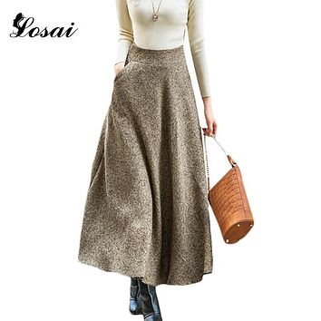 Autumn Winter long Wool skirts for Winter 2017 Fashion Women's Long Woolen Skirts Big Buttom A-line Skirts For Women Black/ Grey