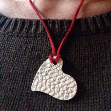 Aromatherapy Essential Oils Heart diffuser necklace 1 1/2 inch buff clay textured by greek lace