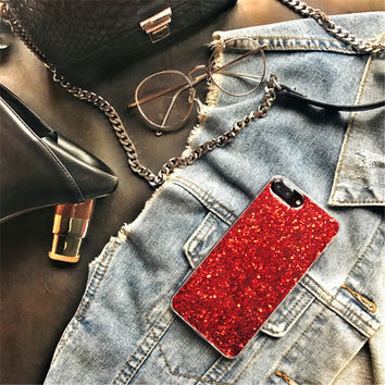 festival gift Sparkling Cute Heart Red Laser Glitter Shell Cover For APPLE iPhone 7 6 s plus Confetti Explosion Style Phone Case -0324