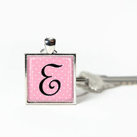Pink key chain alphabet letter personalized gift, glass tile key chain, black monogram white polka dot. Ruasteam