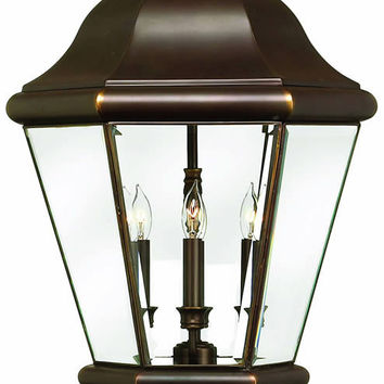 "0-019131>27""h Clifton Park 4-Light Extra-Large Outdoor Post Lantern Copper Bronze"