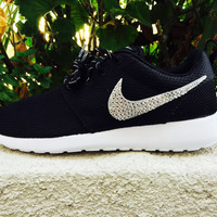 Custom Nike Roshe Swarovski Crystals, cute sneakers, Emerald Crystals, Clear crystal, authentic Swarovski crystals