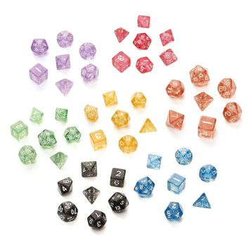 7Pcs set Glitter Shine TRPG Game Dices For Dungeons & Dragons D4-D20 Multi Sides Dice 4 6 8 10 12 20 SIde Desk Games Accessory