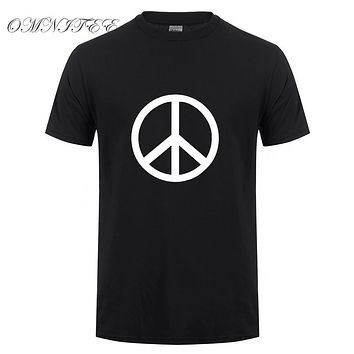 Printed Peace Symbol Men T Shirt Summer Short Sleeve Cotton O-neck Cool Peace Men T-shirts Top