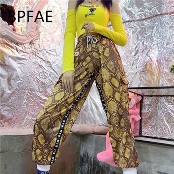 New Harajuku Hip-Hop Vintage Python Snake Pattern Dance Sweatpants Striped Red/Yellow/Pink Cargo Pants Jogger Pants Women Men