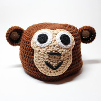 Monkey Crochet Beanie, Winter Animal Hat, Winter Hat With Ears, Crochet Animal Beanie