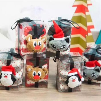 1 Pair New Arrival Women Baby Winter Fluffy Coral Velvet Thick Warm Socks Reindeer Penguin Christmas Gifts For Kid With Gift Box