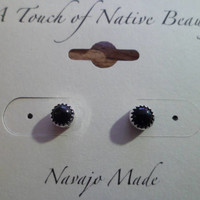 Authentic Navajo,Native American,Southwestern sterling silver black onyx stud earrings. 5mm stones.Made to order