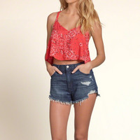 Patterned Strappy Crop Cami